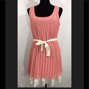 Wishes Wishes Wishes Coral/Ivory Pleated Dress